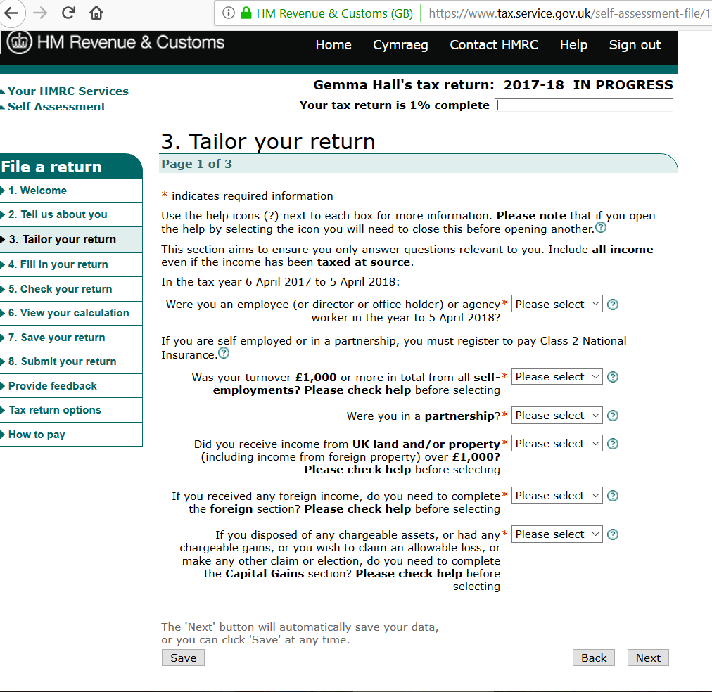 self assessment tax return form guide