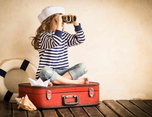 Girl sitting on suitcase looking to the distance with binoculars