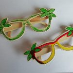 Wooden sunglasses coloured with felt tip pens