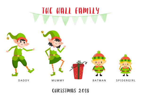 Poster of family of Christmas elves
