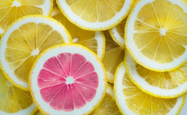 Close up of cut lemons