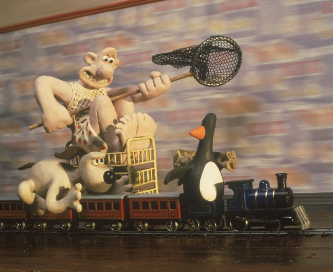 Wallace and Gromit on train in The Wrong Trousers film