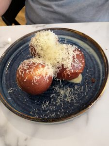 Savoury doughnuts with ham hock and cheddar