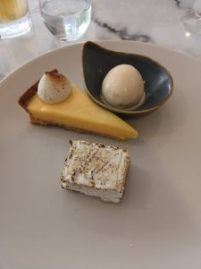 Lemon curd tart with buttered toast ice cream