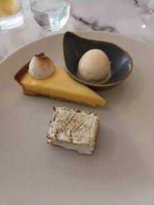 Lemon curd tart with buttered toast ice cream