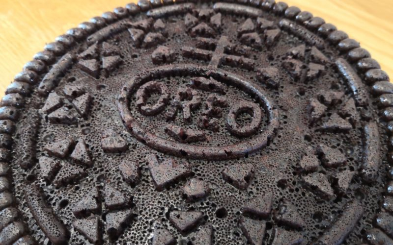 Close up of cake baked in style of Oreo cookie