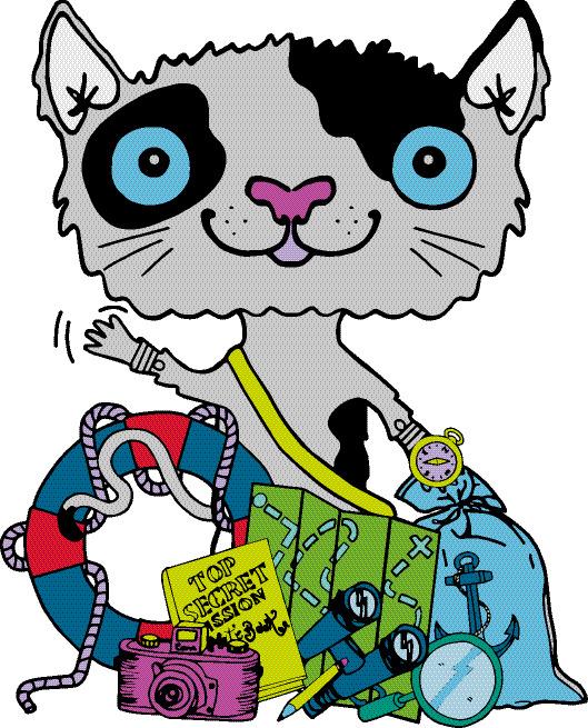 Mission Explore cat with detective equipment