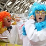 Pretend scientists with brightly coloured hair